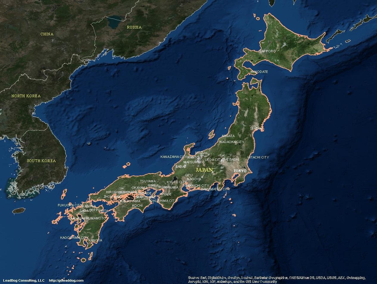 Cartina Geografica Satellitare.Giappone Mappa Satellitare Mappa Satellitare Del Giappone Asia Orientale Asia