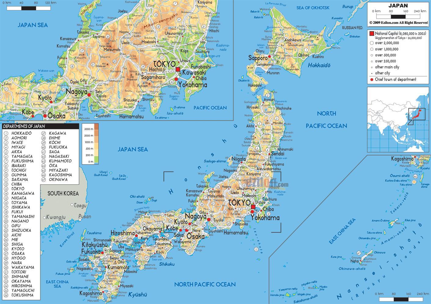 La Cartina Del Giappone.Mappa Geografica Del Giappone Mappa Del Giappone Geografiche Asia Orientale Asia