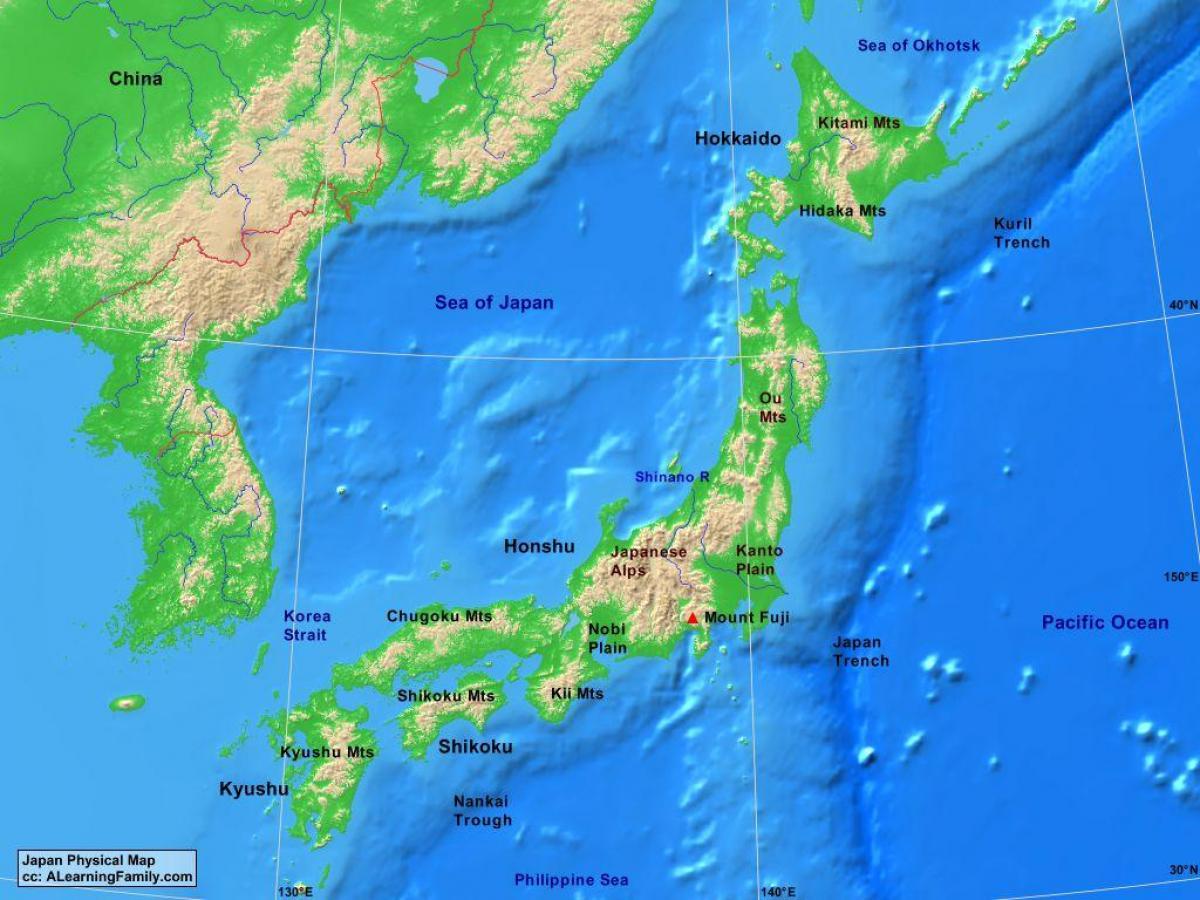 Cartina Fisica Del Giappone In Italiano.Mappa Fisica Del Giappone Mappa Fisica Giappone Asia Orientale Asia