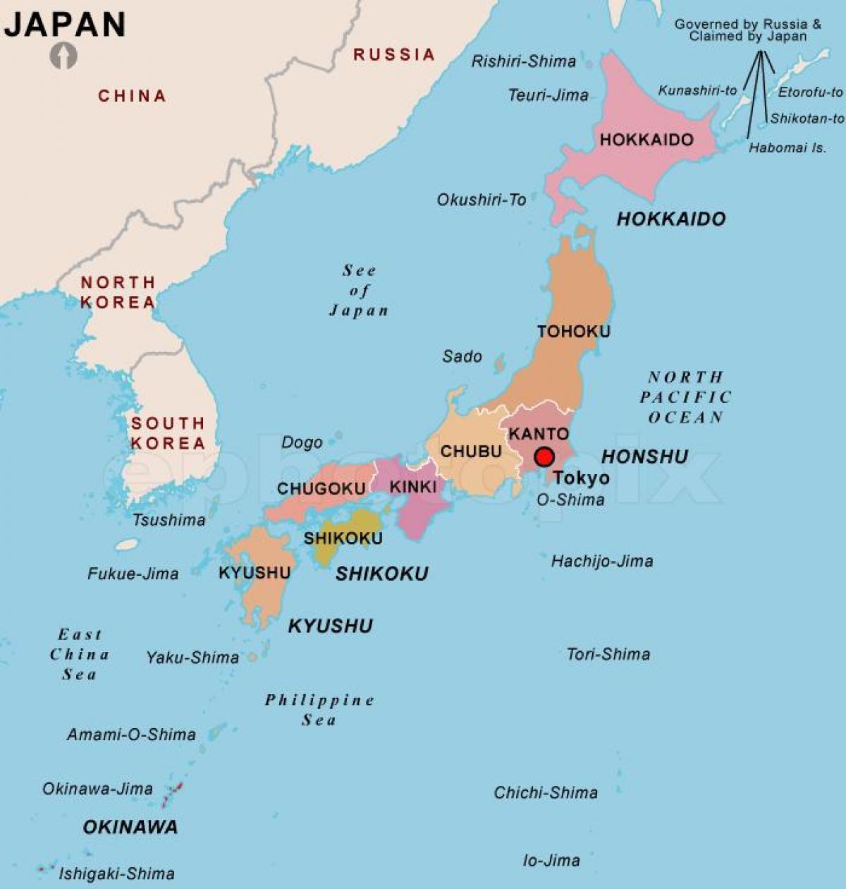 Il Giappone Cartina Politica.Mappa Politica Del Giappone Mappa Politica Del Giappone Asia Orientale Asia